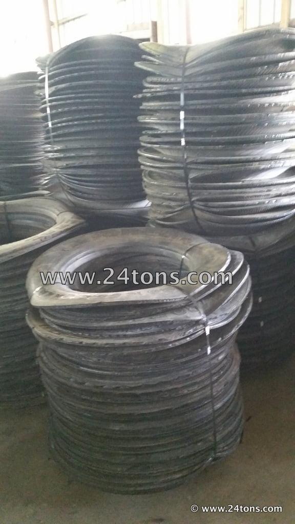 Semi tire sidewalls cut tire rings